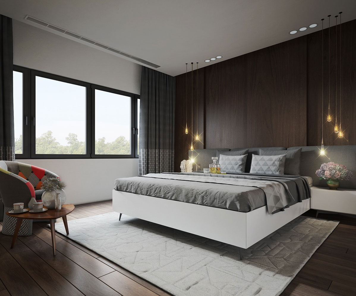 10 mẫu phòng ngủ hiện đại đẹp với mảng tường đầu giường