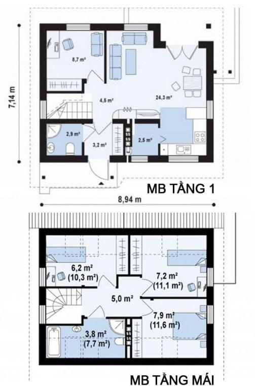 9 mẫu nhà cấp 4 có 3 phòng ngủ đẹp 22