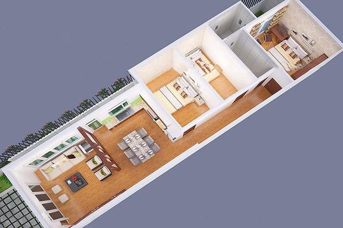 mẫu thiết kế nhà 1 tầng 3 phòng ngủ đẹp 4