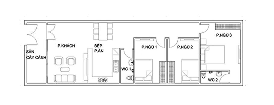 nhà ống 1 tầng 3 phòng ngủ