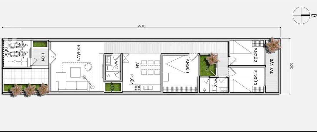 thiết kế nhà ống 1 tầng 4x15