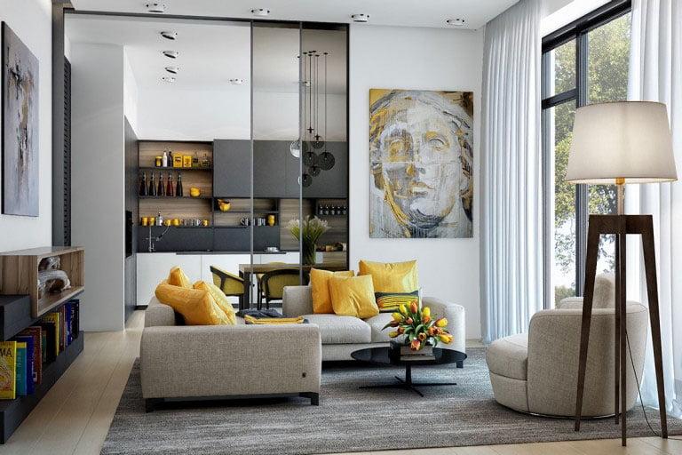 Cuốn hút với mẫu phòng khách nổi bật với điểm nhấn màu vàng