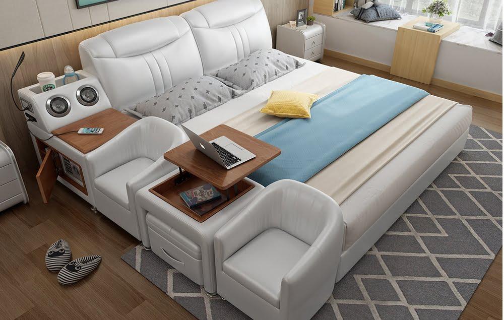 Giường bọc da nội thất thông minh cho nhà nhỏ
