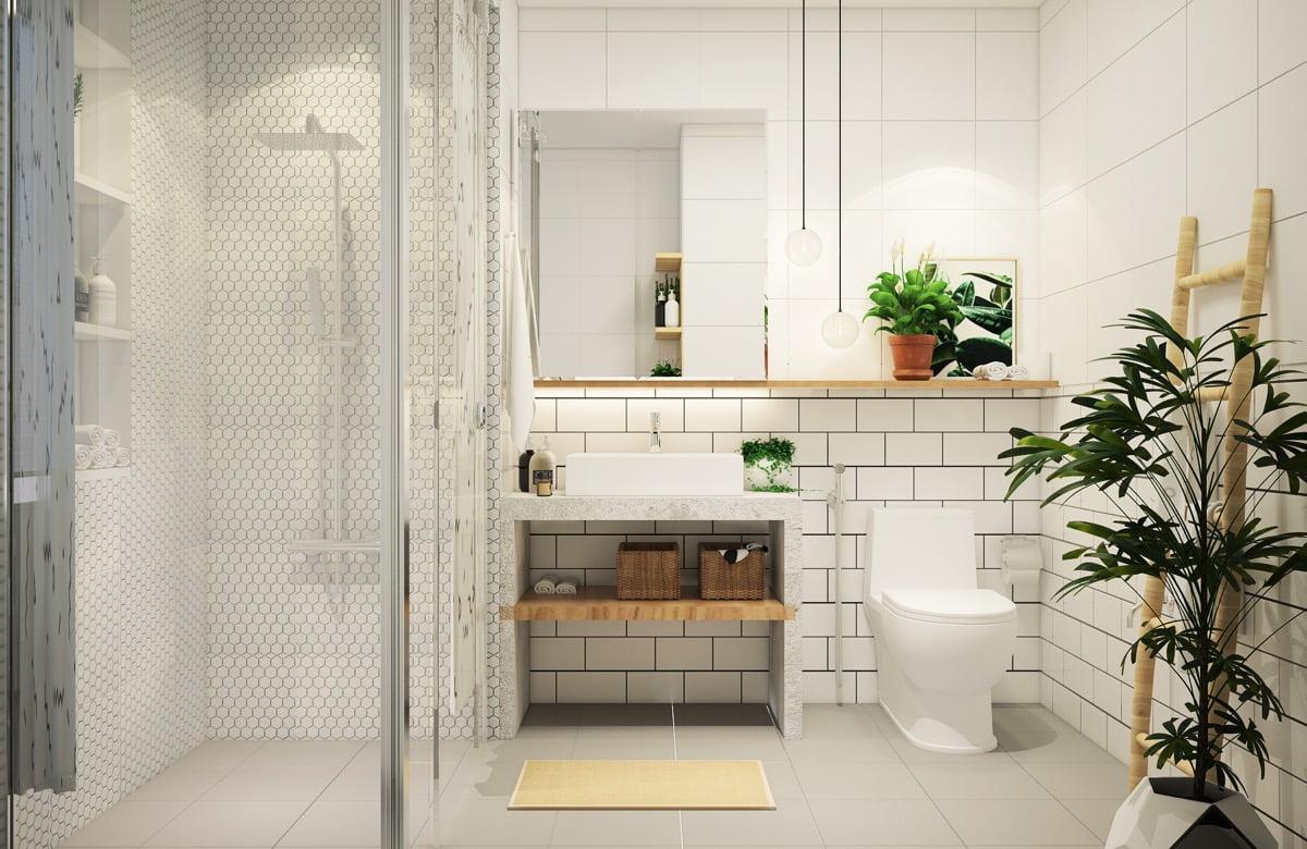 phòng tắm nhỏ đẹp lát đá