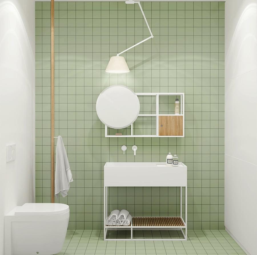 phòng tắm nhỏ màu xanh đẹp