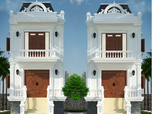 Khám phá các mẫu nhà tân cổ điển 2 tầng đẹp sang trọng 2018