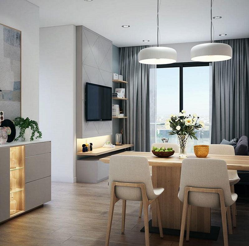 Khám phá mẫu thiết kế căn hộ chung cư 60m2 sang trọng tiện nghi