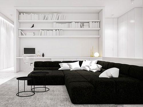 Ma lực hấp dẫn từ mẫu phòng khách trắng - đen ấn tượng
