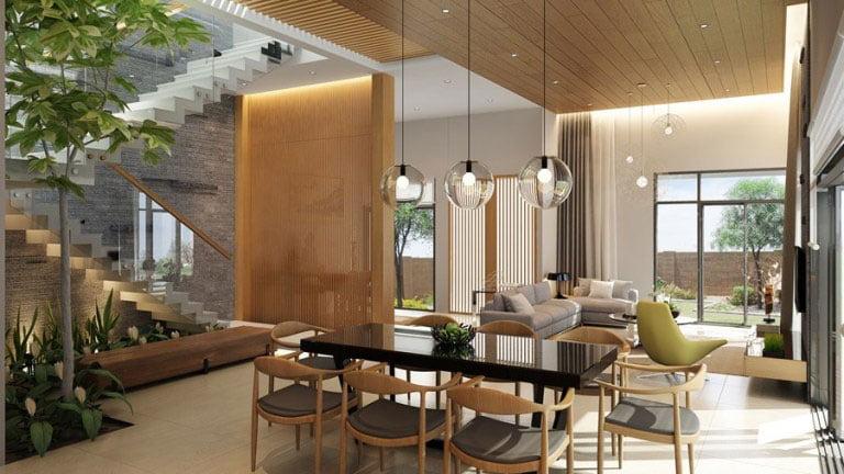 Mẫu biệt thự vườn 2 tầng ấm cúng với vật dụng đồ gỗ nội thất