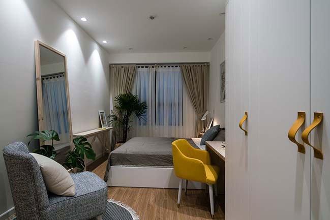 Mẫu căn hộ chung cư ấn tượng với điểm nhấn vàng cá tính