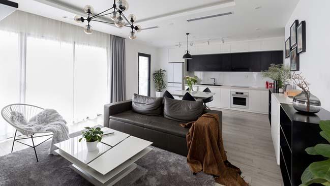 Ngắm nhìn mẫu căn hộ chung cư trắng đen đẹp mê hoặc