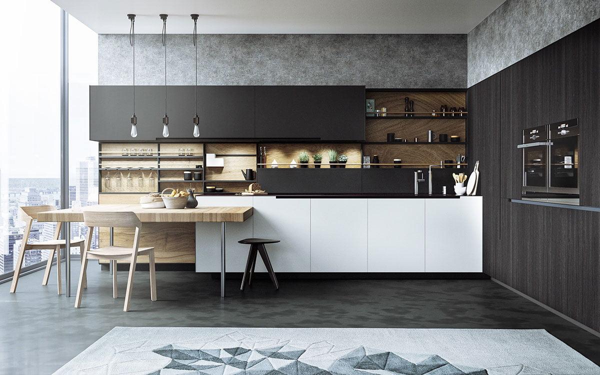Ngắm nhìn mẫu phòng bếp đẹp hút hồn với bộ ba trắng - đen - gỗ