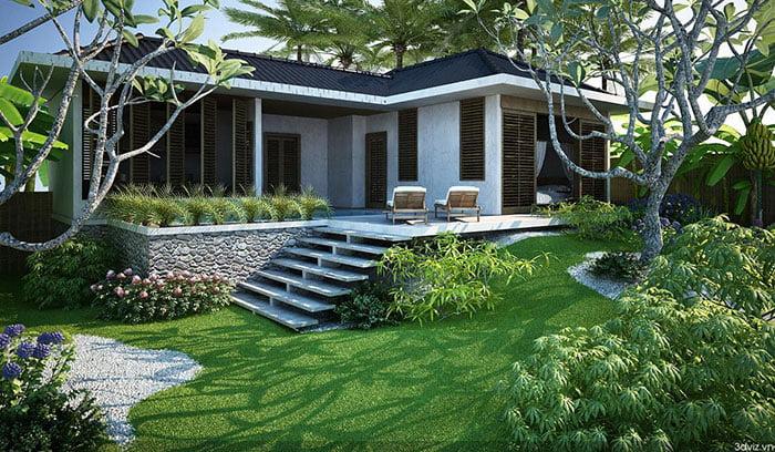mẫu nhà vườn đẹp 1 tầng