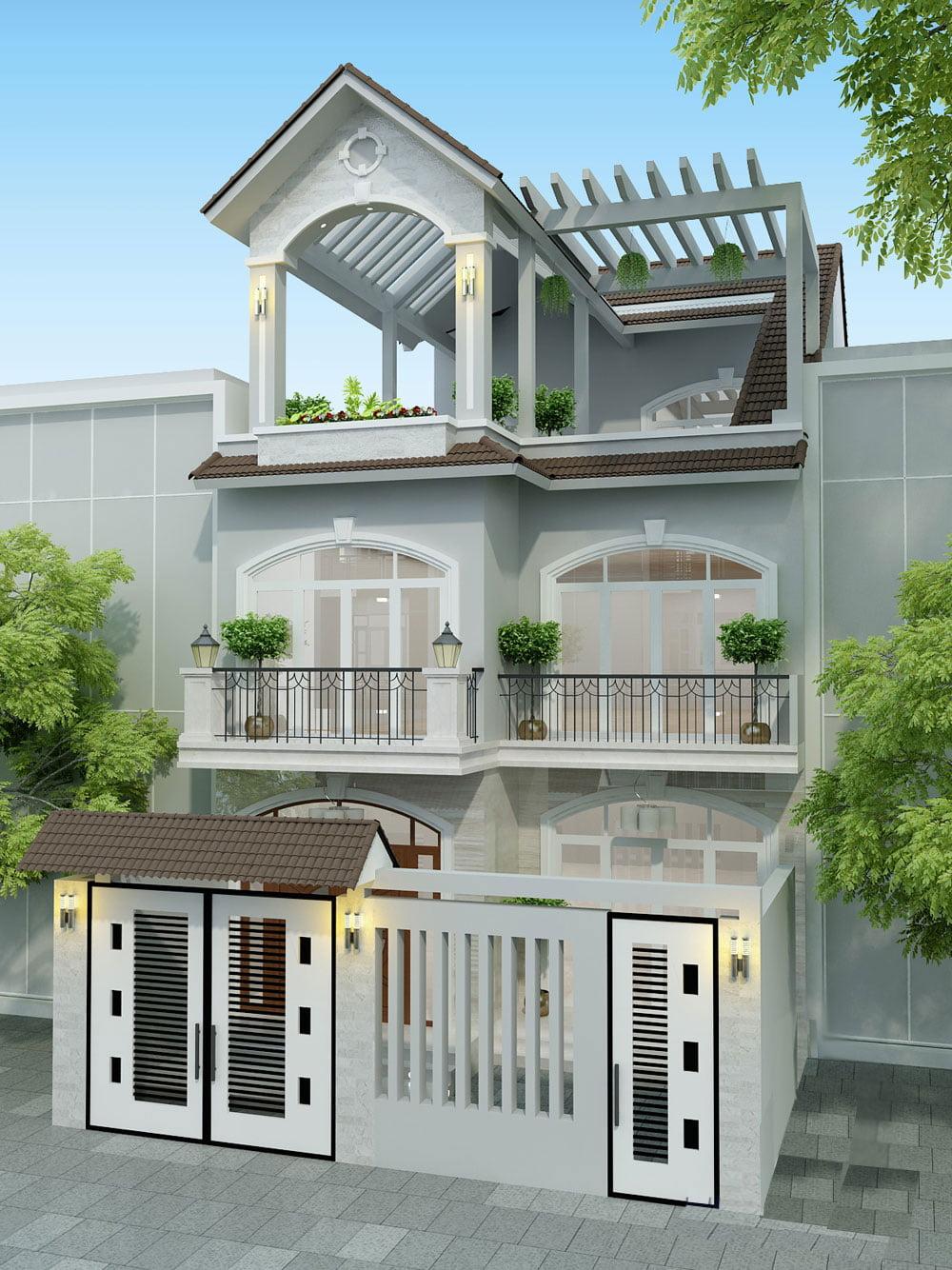 Ấn tượng với mẫu nhà phố đẹp 3 tầng phong cách hiện đại