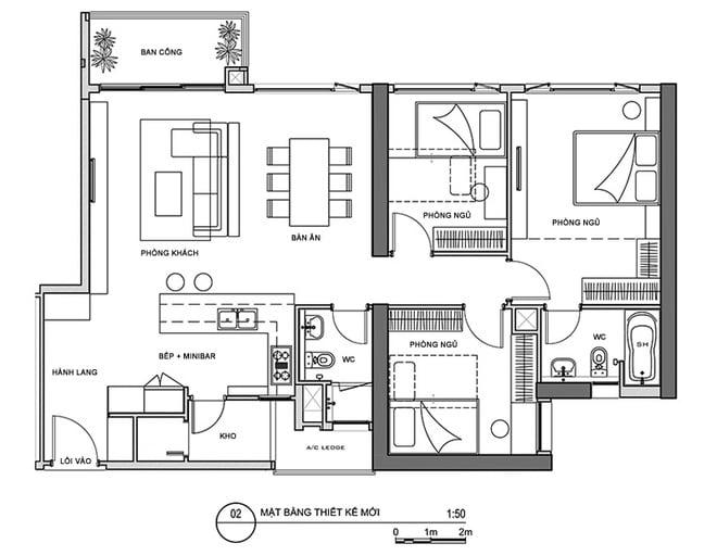 bản thiết kế nhà cấp 4 3 phòng ngủ 2