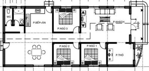 bản thiết kế nhà cấp 4 3 phòng ngủ 1 phòng thờ 2