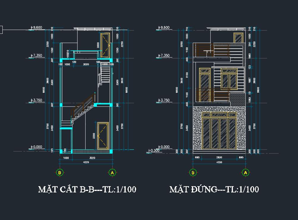 bản vẽ kết cấu nhà phố 2 tầng 15