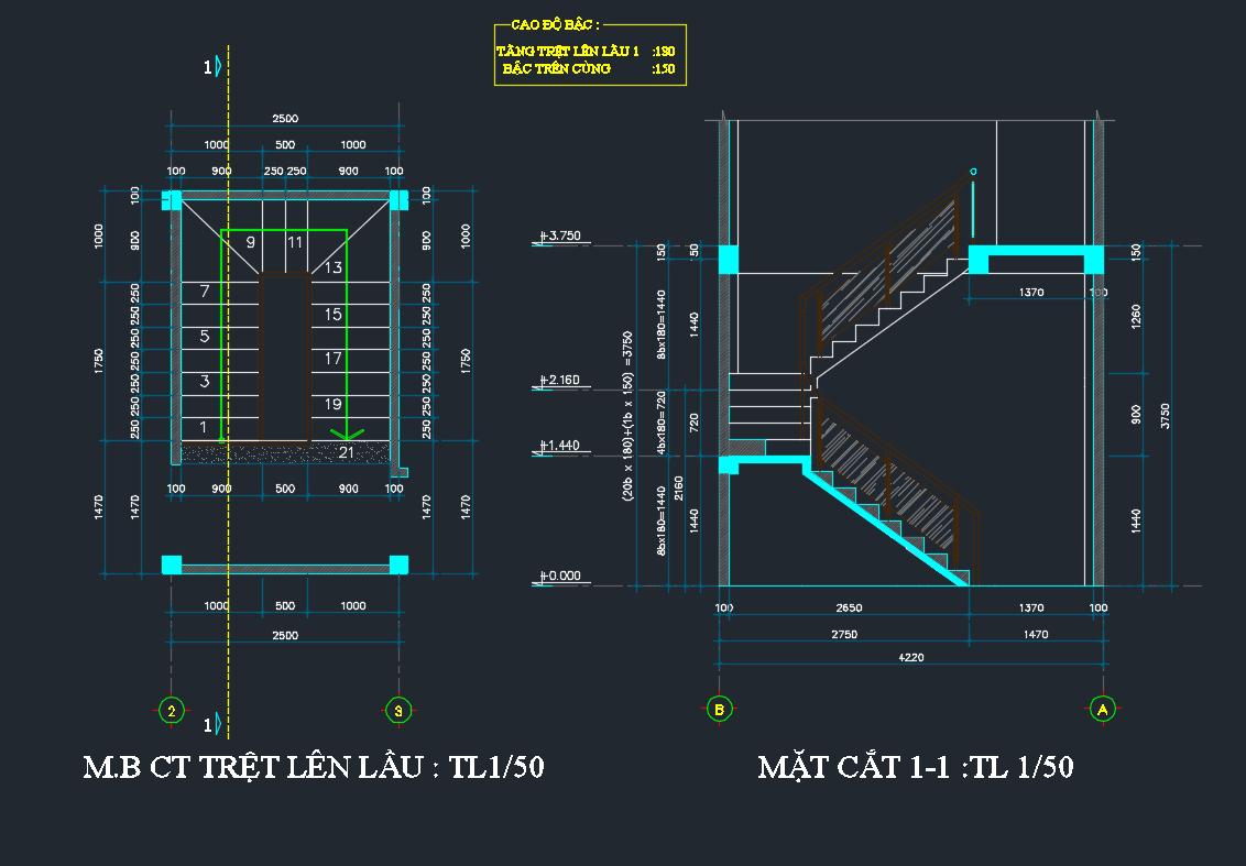 bản vẽ kết cấu nhà phố 2 tầng 16