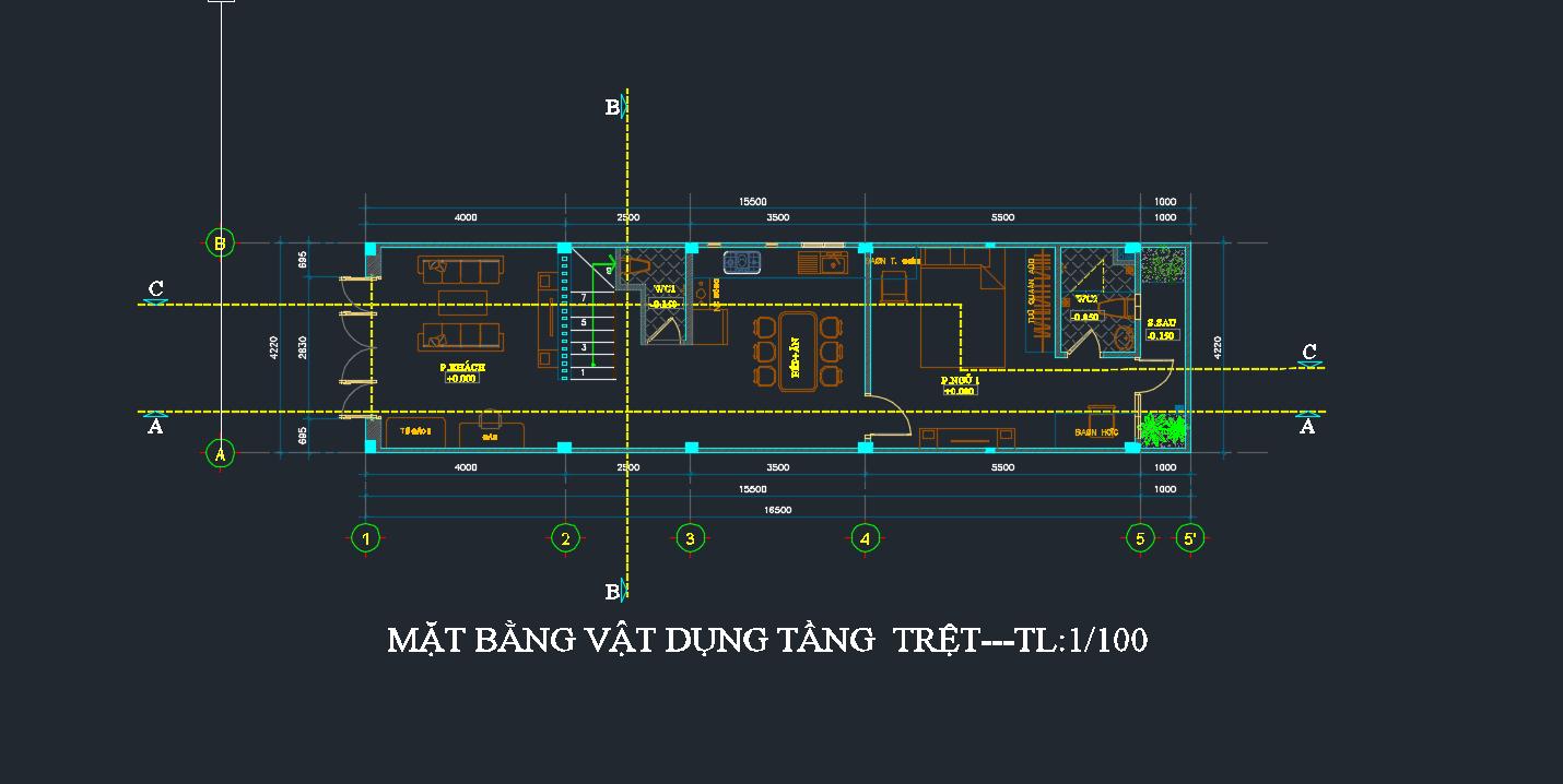 bản vẽ kết cấu nhà phố 2 tầng 18