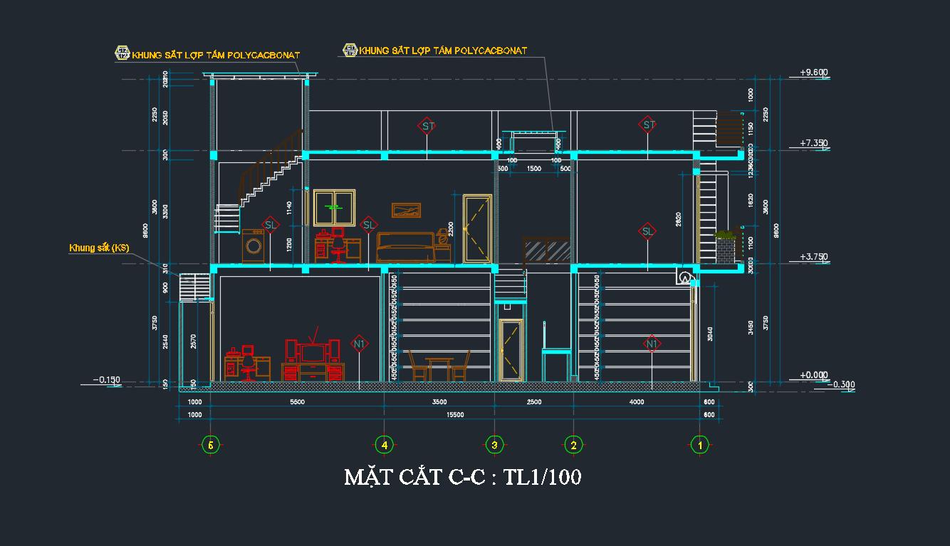 bản vẽ kết cấu nhà phố 2 tầng 20