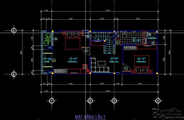 bản vẽ kết cấu nhà phố 2 tầng 22
