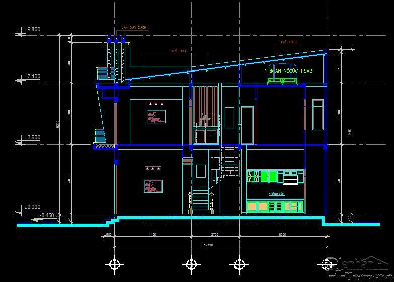bản vẽ kết cấu nhà phố 2 tầng 23