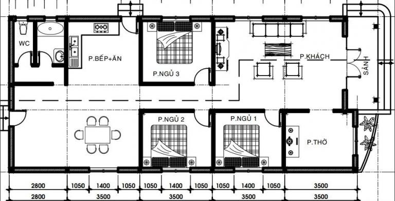 bản vẽ mẫu nhà 1 tầng đơn giản đẹp