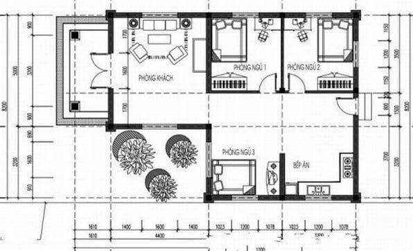 bản vẽ nhà cấp 4 3 phòng ngủ 8