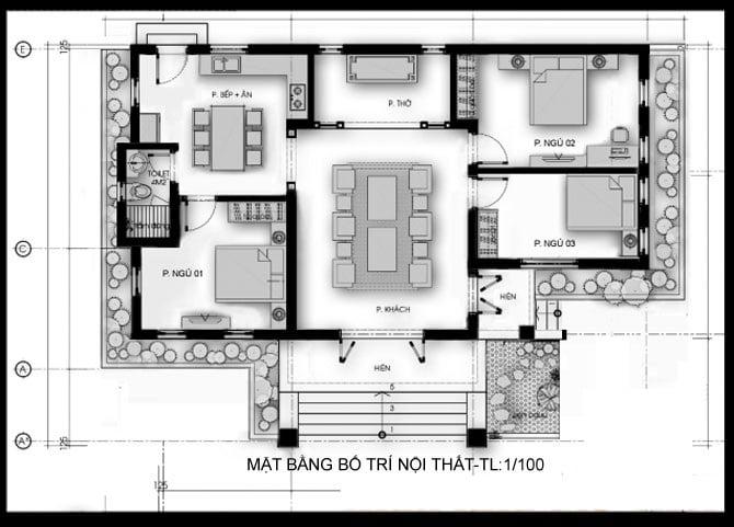 bản vẽ nhà cấp 4 3 phòng ngủ 13