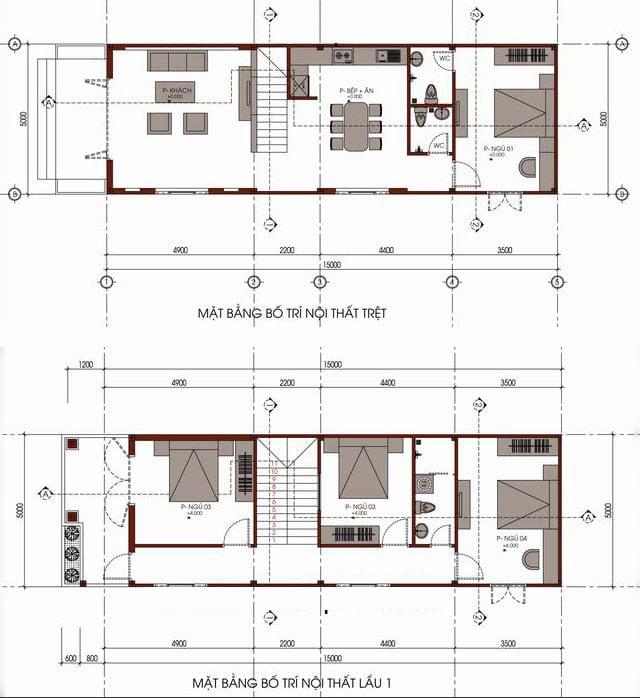 bản vẽ thiết kế nhà 2 tầng 5x15 1