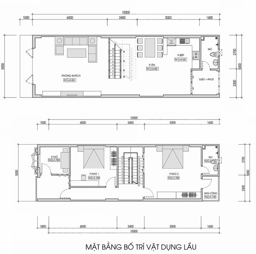bản vẽ thiết kế nhà 2 tầng 5x15 2