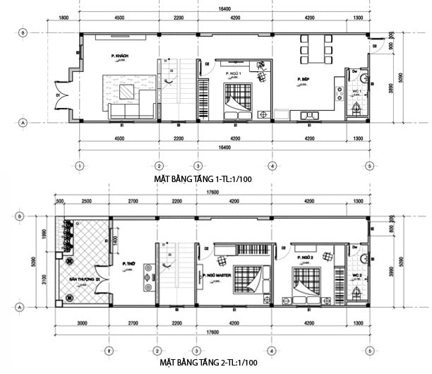 bản vẽ thiết kế nhà 2 tầng 5x15 3