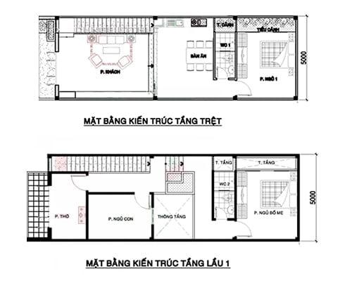 bản vẽ thiết kế nhà 2 tầng 5x15 4