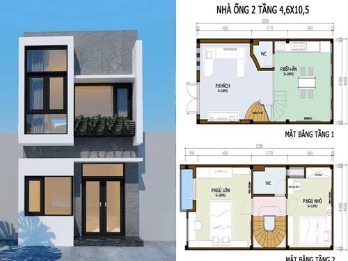 Bản vẽ thiết kế nhà 2 tầng hoàn chỉnh đầy đủ chi tiết nhất