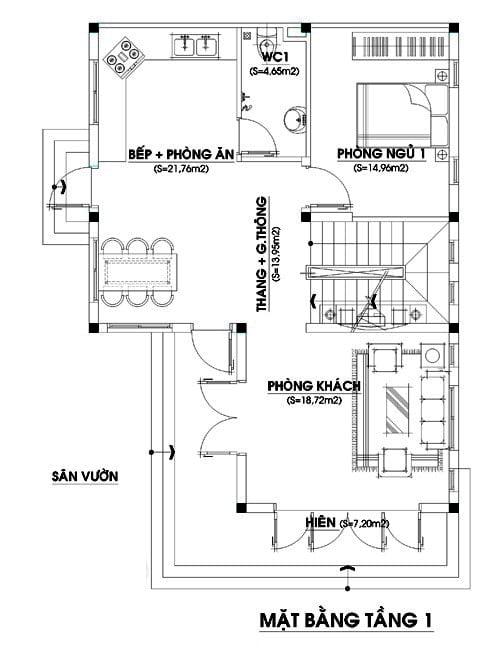 bản vẽ thiết kế nhà 2 tầng chữ L