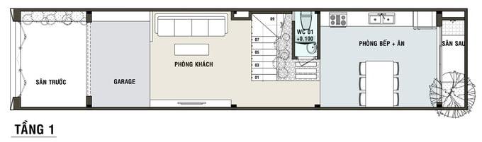 bản vẽ thiết kế nhà ống 5x20 2