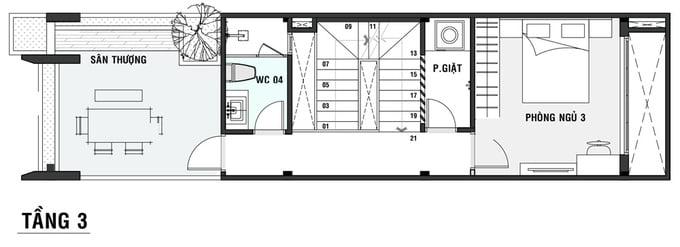bản vẽ thiết kế nhà ống 5x20 4