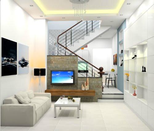 phòng khách thiết kế xây dựng nhà 2 tầng