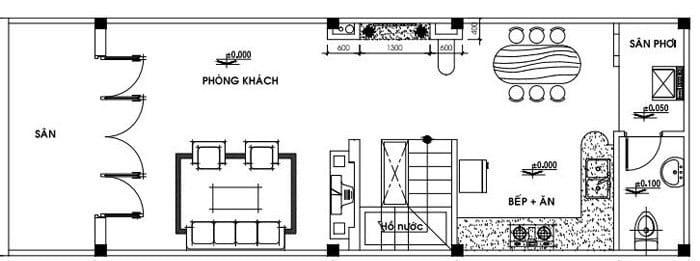 bản vẽ tầng trệt thiết kế nhà cấp 4 có gác lửng 4x16
