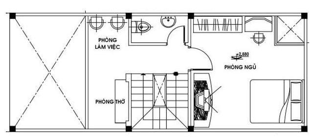 bản vẽ tầng lửng thiết kế nhà cấp 4 có gác lửng 4x16