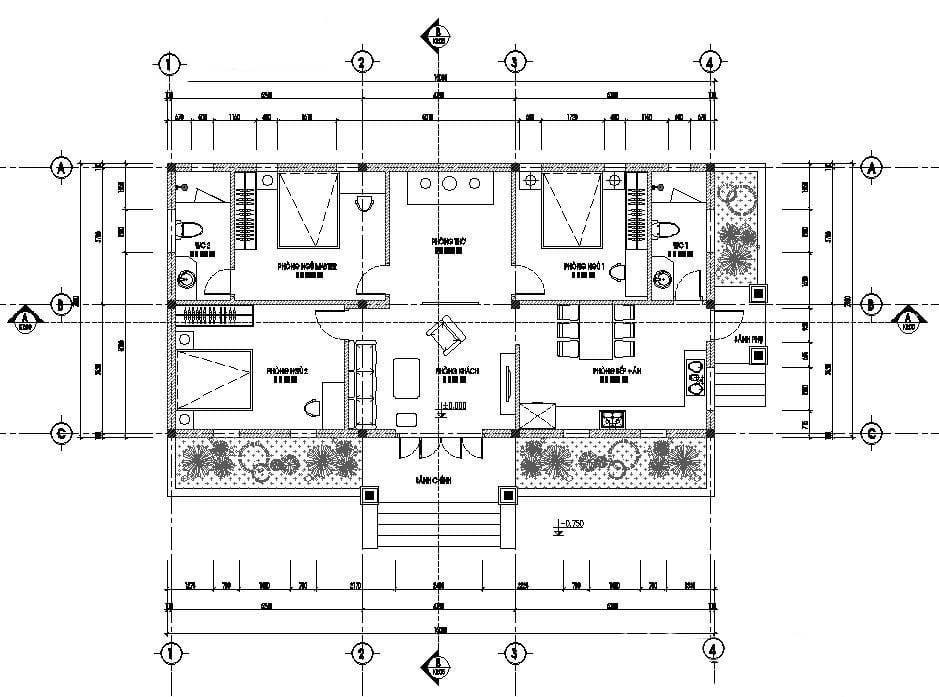 mẫu thiết kế biệt thự nhà vườn 1 tầng 3 phòng ngủ 11