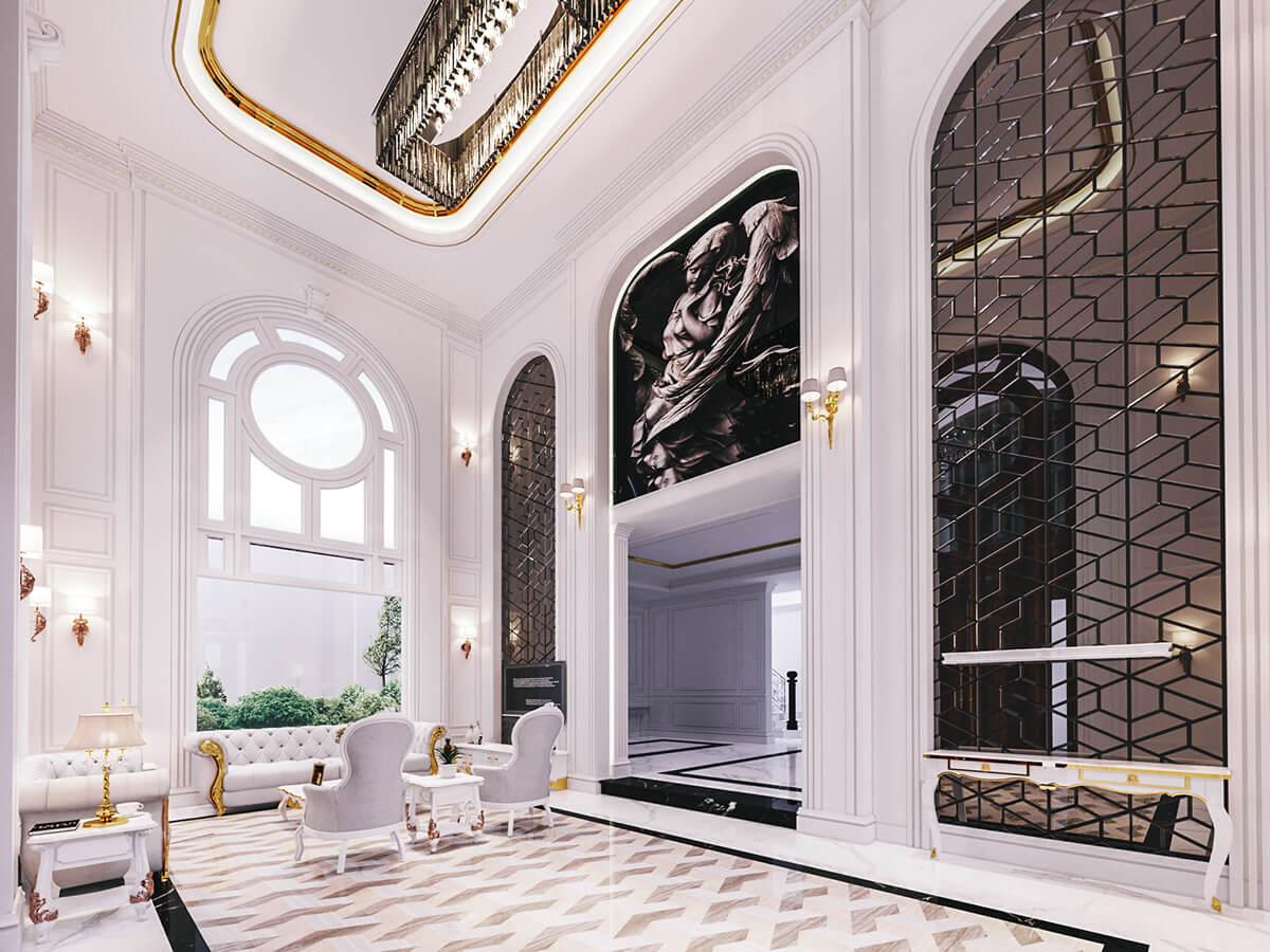 biệt thự 2 tầng 1 tum 120m2 phòng khách