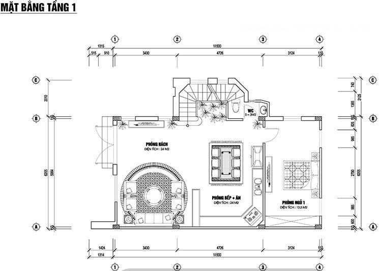 biệt thự 2 tầng 1 tum 120m2