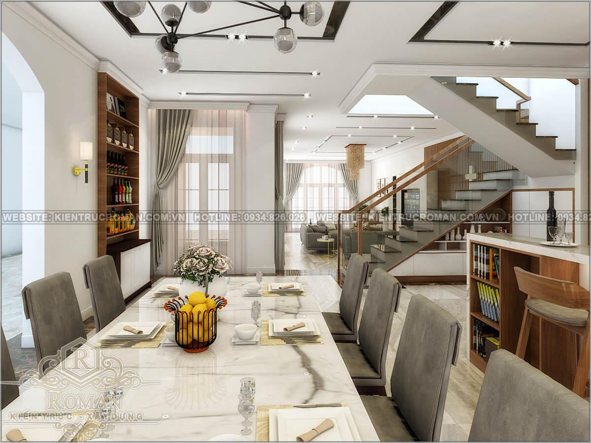 biệt thự 2 tầng 1 tum phòng ăn
