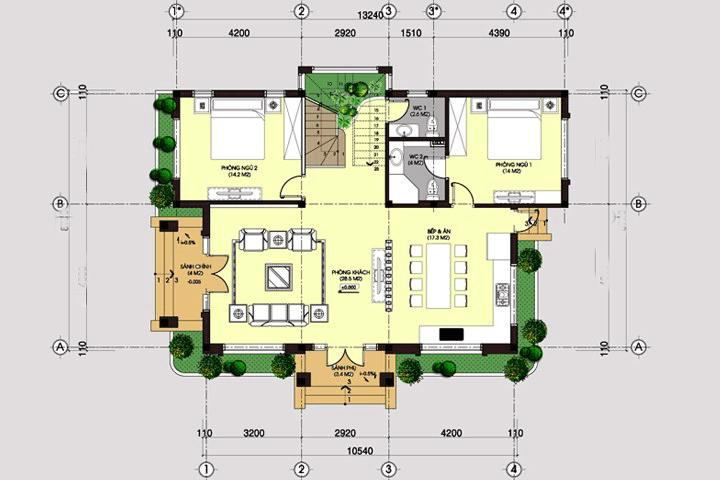 biệt thự 2 tầng 10x12m 5