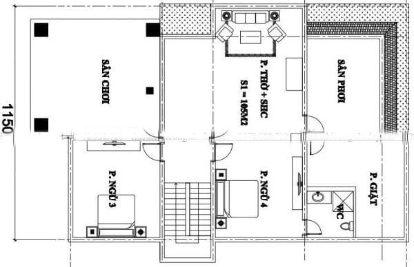 biệt thự 2 tầng 11x16m
