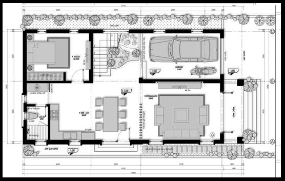 biệt thự 2 tầng 2 mặt tiền