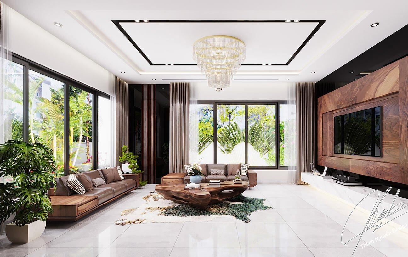 biệt thự 2 tầng 205m2 phòng khách