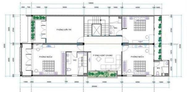 biệt thự 2 tầng 7x21m