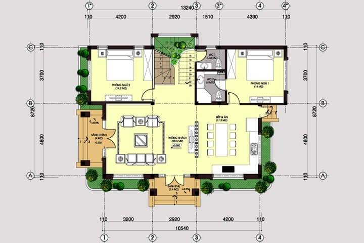 biệt thự 2 tầng 9x14m